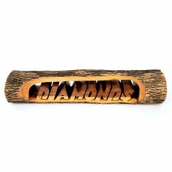 Wooden Log Hand Carved 'diamonds' Display Sign Gift Shop Rustic Lodge Style