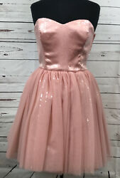 Betsey Johnson Pink Sequined Strapless Cocktail Dress Size 10 New Nwt Sweetheart