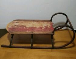 Antique 1900's Wood And Iron Metal Sub Runners Vintage Snow Winter Sled Sleigh