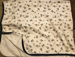 First Impressions Baby Blanket Cotton Ivory Blue Puppies Paw Prints Thin