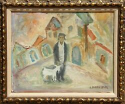 Simon Karczmar Man And Goat Oil On Canvas Signed