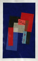 Sol Abstract Red On Blue I Oil And Collage On Paper Signed And Dated