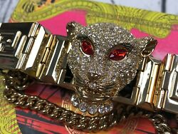 Versace X Handm Gold Rhinestone Panther Leather Chain Link Choker Necklace