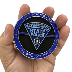 Dl9-02 Massive 3 Inch Msp Challenge Coin Massachusetts State Police Trooper