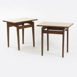 Pair Of Jens Risom Designs Inc Walnut And Laminate End Side Table Knoll Eames