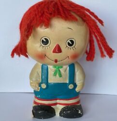Very Distressed Primitive Vintage Raggedy Andy Doll Coin Bank Sold As Is B5