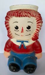 Distressed Primitive Vintage Raggedy Andy Doll Coin Piggy Bank Sold As Is B5
