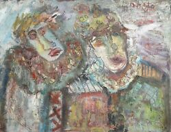 Unknown Artist Two Clowns Oil On Canvas Signed And039b. Mataand039 U.r