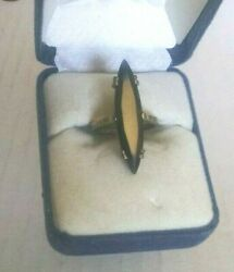 Vintage Rare Collectible Silver 10k Art Deco Marquise Stone Statement Ring Sz 6