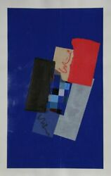 Sol Abstract Red On Blue Ii Oil And Collage On Paper Signed And Dated
