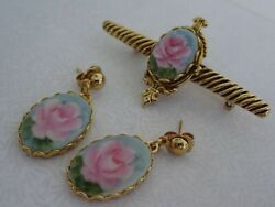 Ladylike Hand Painted Pink Roses Porcelain Gold Pierced Earrings And Brooch Set