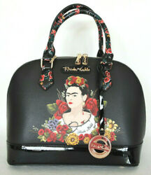 FRIDA KAHLO Flower Series Unique Black Satchel Messenger Bag with Coin Purse $84.99