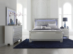 New Silver Light Led Queen Or King 4pc Bedroom Set