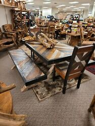 Reclaimed Teak Dining Room Set Table Benches And Chairs Will Ship Or Pick Up