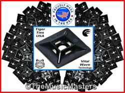 100 Usa Made Adhesive Wire Cable Tie 1 Inch Mounting Pads Wall Mount Clips Black