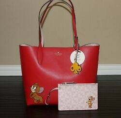 💚 KATE SPADE Tom and Jerry Large Reversible Tote amp; Wristlet Bag Purse Set NWT $246.95