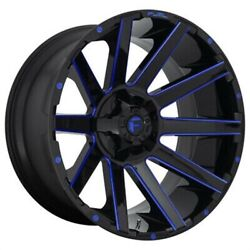 4 New 24x14 Fuel Contra Gloss Black Blue Tinted Clear 8x165.1 D64424408245
