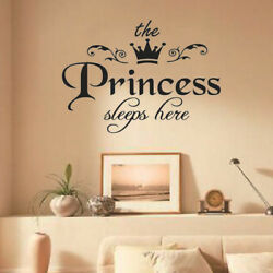 Removable Princess Sleeps Wall Stickers Art PVC Decals Baby`Girls Room DecoY*ss