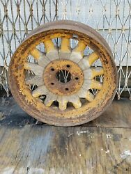 Vintage Car Rim Automobile Wheel Wood Spoke Artillery Antique
