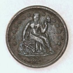 Raw 1841-o Seated Liberty 10c Uncertified Ungraded New Orleans Mint Silver Dime