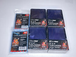 100 Ultra Pro Black Border Standard Hard Card Toploaders 200 soft sleeves