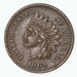 Raw 1864 Indian Head 1c L Uncertified Ungraded Us Copper Small Cent Coin