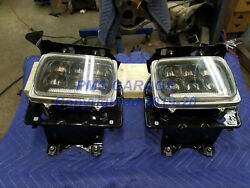 78-79 Ford Truck Square Headlight Bucket Assy Set With Led Bulbs Restored