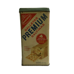 Vintage Nabisco Premium Saltine Cracker Tin Advertising Made In The Usa With Lid