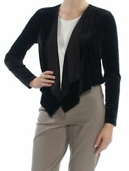 TOMMY HILFIGER Womens Black Long Sleeve Open Cardigan Casual Top M $5.99