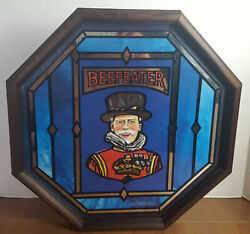 Vintage Beefeater Octagon Bar Sign Staind Glass Mirror 17 X 17 Very Rare