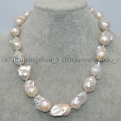 20'' Natural 15-23mm White South Sea Baroque Keshi Pearl Necklace Magnetic Clasp