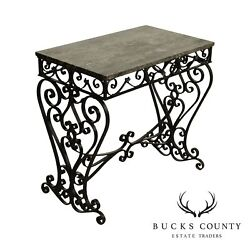 Antique Victorian Wrought Iron Marble Top Console Table