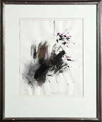 Josep Grau-garriga Untitled - Portrait With Abstract Watercolor On Paper Sign