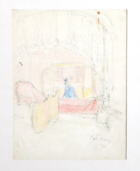 Dimitrie Berea Bedroom Interior 34 Ink And Pastel On Paper Signed