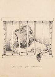 Marshall Goodman The Lion And039justand039 - Juste Yawned Encre Sur Papier