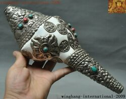 Tibetan Temple Conch Inlaid Tibet Silver Turquoise Ruby Conch Trumpet Horn Shell
