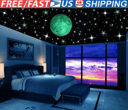 Glow In Dark Ceiling Stars Moon Plaster Stickers Wall Stickers Night Home