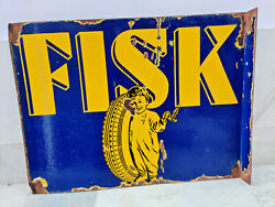1930s Vintage Original Rare Fisk Tyres Pictorial Double Sided Enamel Sign Board
