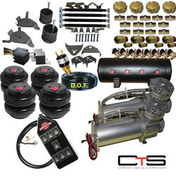 B Chevy S10 Air Dual Compressor 25 And 26 Bags 1/2 Valves 3-gal Tank7 Switch