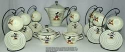 Rare Ex French Disney C1935 19piece Mickey Mouseart Decolarge China Tea Set