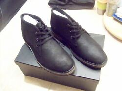 New Menand039s Andrew Marc Woodside Leather Chukka Bootie Size 7.5 M - Deep Black