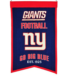 New York Giants Embroidered 14x22 Wool Franchise Banner Fan Cave Sports