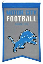 Detroit Lions Embroidered 14x22 Wool Franchise Banner Fan Cave Sports
