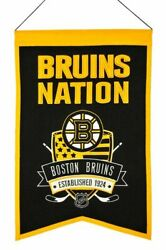 Nhl Boston Bruins Embroidered 14x22 Wool Franchise Hockey Banner Fan Cave Sports