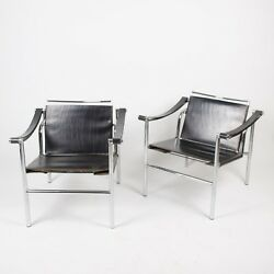 1960and039s Vintage Paar Le Corbusier Lc1 Stendig Basculant Standuumlhle Thonet Cassina