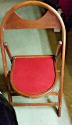 2 Vintage/ Antique Solid Wood Folding Bentwood Style Chair W/ Padded Seat