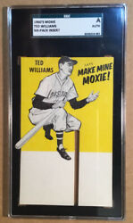 1960's Ted Williams Make Mine Moxie 6-pack Original Advertising Card Sgc Auth
