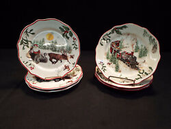 Set Of Six Better Homes And Gardens Winter Forest Salad Plates Exc