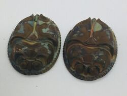 2 Antique Victorian Marbled Czech Glass Figural Scarab Hat Pin Tops