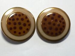 Antique Glass Wafer Pair Buttons Stencil Calico Gingham 4 Way Box Shank W Dots